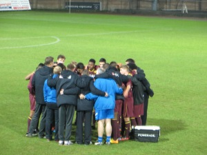 Huddle before extra time