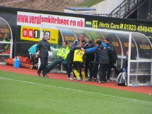 Anya celebrating with the bench