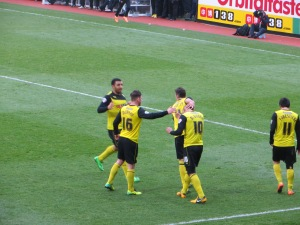 Celebrating McGugan's penalty