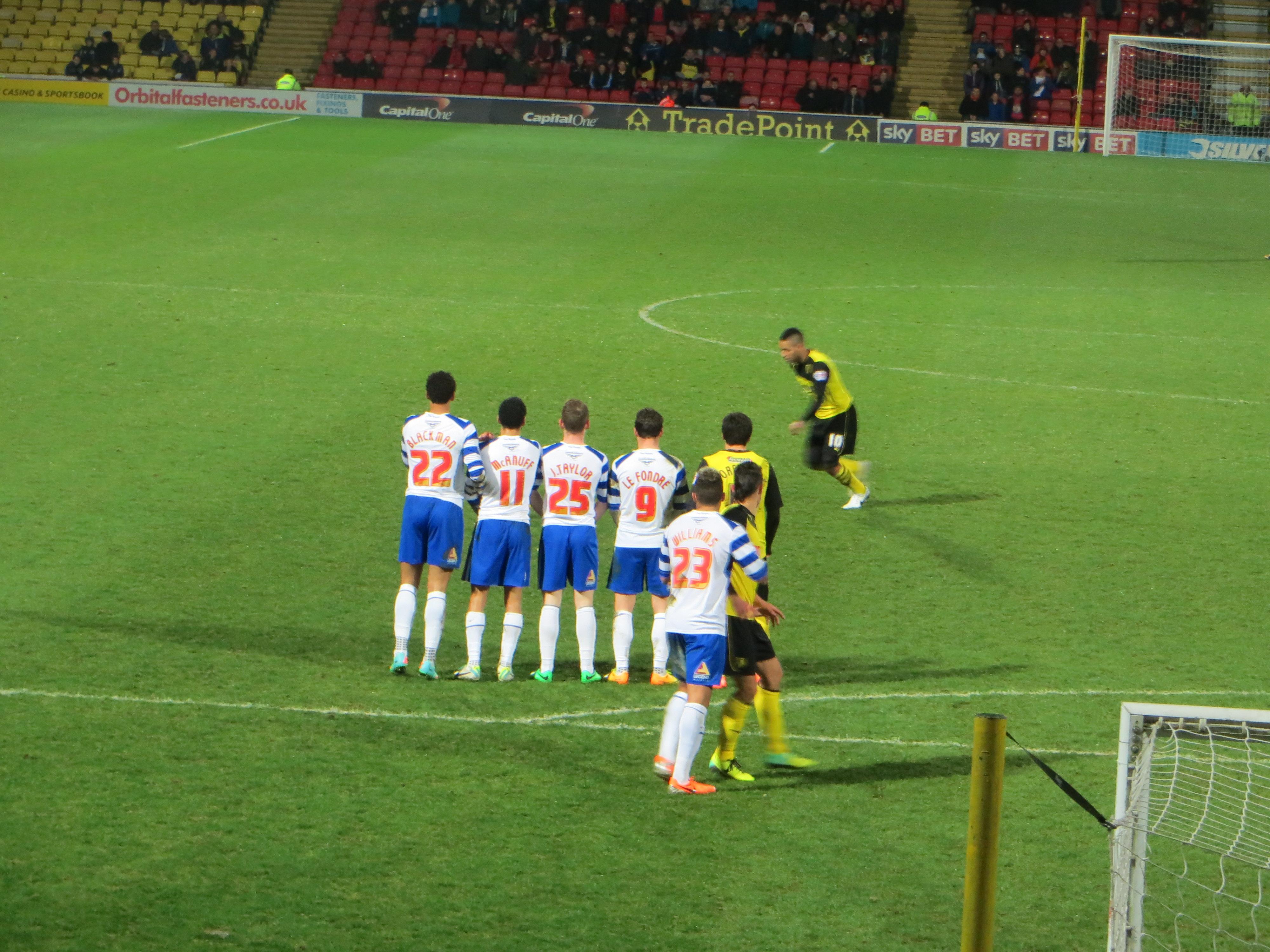 Lewis Mcgugan Free Kick Watford Mcgugan Takes a Free-kick