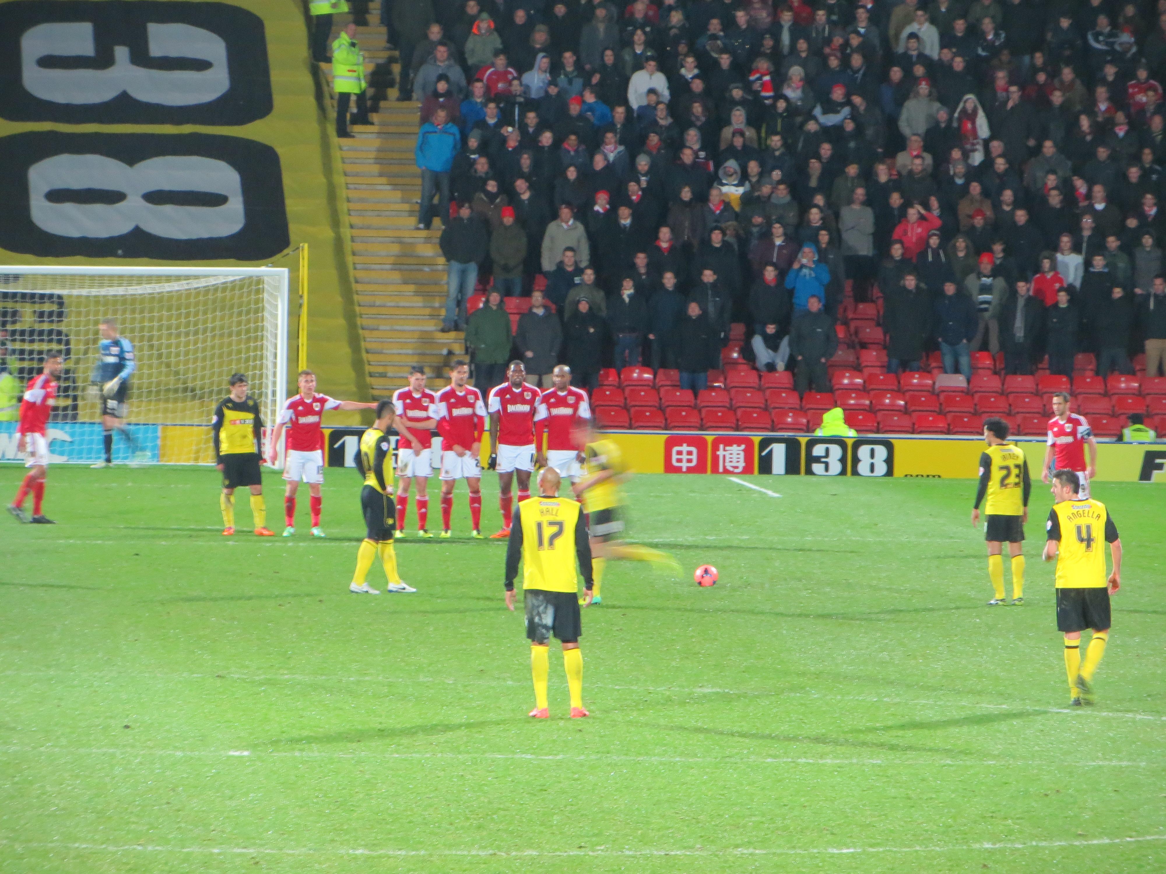 Lewis Mcgugan Free Kick Watford Mcgugan Lines up a Free Kick