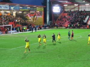 Thanking the travelling fans