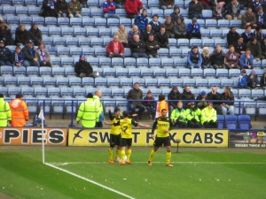 Forestieri receives congratulations after scoring