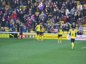 Anya being congratulated for his goal