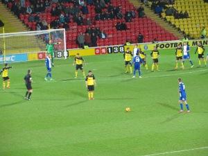 Huws lining up a free kick