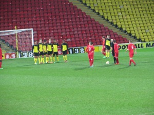Liverpool line up a free kick