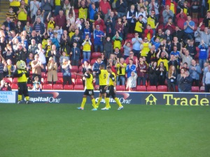 Celebrating Deeney's stirke