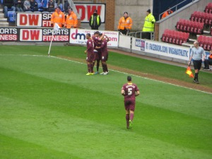 Celebrating McGugan's strike