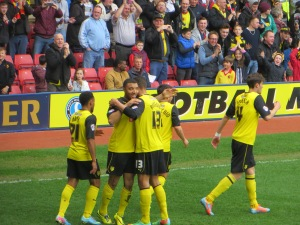 Celebrating Deeney's goal