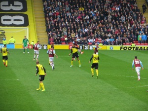 Ranegie challenged for a header