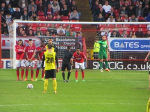 Tozser lines up a free kick