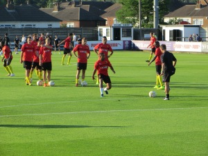 Warming up at Meadow Park
