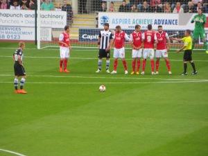 Vydra lines up a free-kick
