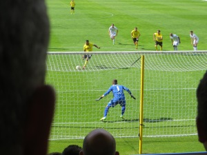 Deeney steps up to take the penalty