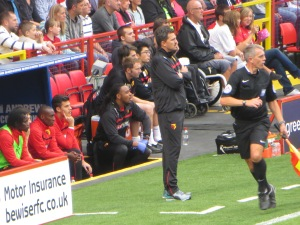 Oscar Garcia's first appearance on the touchline as Watford manager