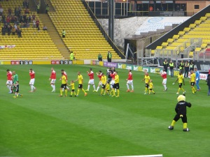 The teams (and mascots) emerge from the tunnel