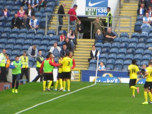 Vydra congratulated by his team mates