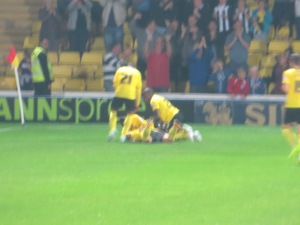 Vydra receives congratulations for a stunning strike