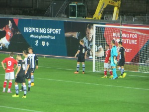 Byers, Smith and Gilmartin defending a corner