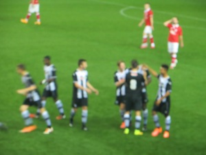 The goal celebration following the penalty was a blur