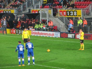 Tozser and Vydra line up a free kick