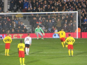 Deeney sends Kiraly the wrong way