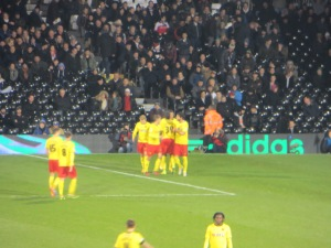 Deeney congratulated for his goal