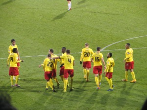 Abdi congratulated after scoring his second
