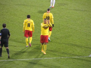 Deeney applauds the travelling Hornets after scoring his third