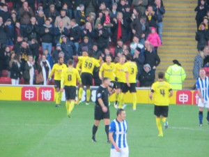 Celebrations after Deeney's first goal