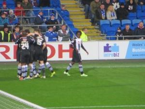 Celebrating Guedioura's second goal