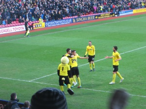 Cathcart congratulated on the opening goal