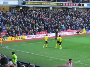 Deeney, Paredes and Ighalo following the second goal