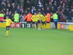 Celebrating Ighalo's second goal