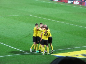 Celebrating  Deeney's strike