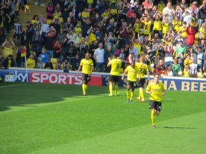 Congratulating Deeney on his 20th goal of the season