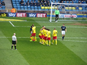 Celebrating Vydra's strike