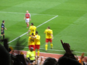 A blurred goal celebration