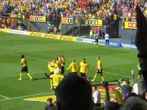 Celebrating Cathcart's wonder goal