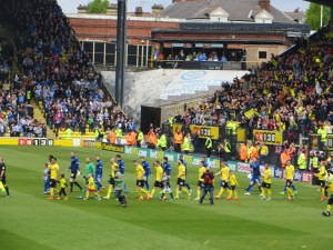 The promoted Hornets come on to the pitch