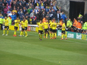 Celebrating Vydra's goal