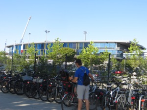 The cycle rack outside the  Eintracht Stadion