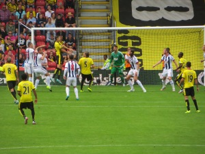 Cathcart leaps for a cross