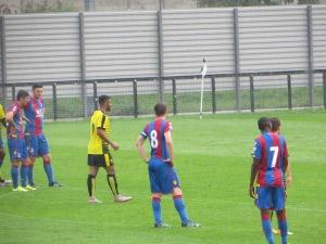 Jakubiak prepares to take the first penalty