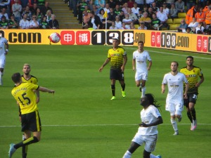 Cathcart leaping to meet the ball