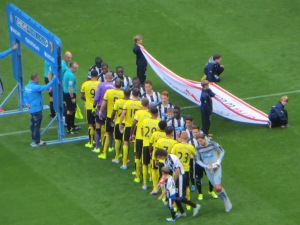 A distant view of the handshakes