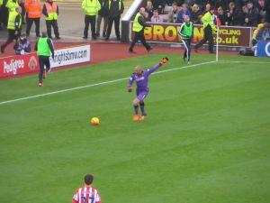 Gomes takes a free kick