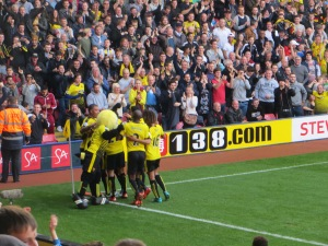 Celebrating the first goal