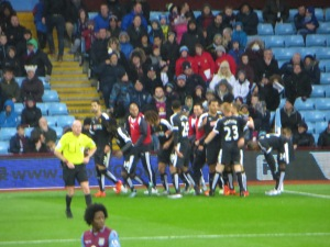A blurred celebration of the first goal
