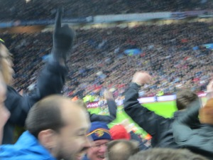 The players' celebration masked by that in the Deadly Doug stand